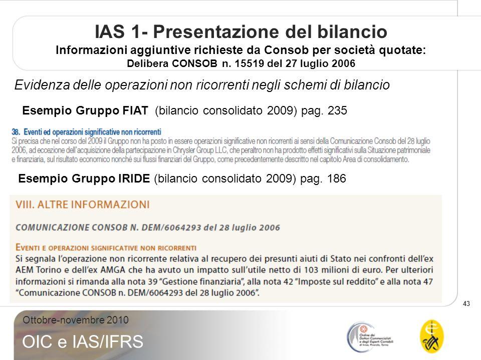 43 Ottobre-novembre 2010 OIC e IAS/IFRS IAS 1- Presentazione del bilancio Informazioni aggiuntive richieste da Consob per società quotate: Delibera CO