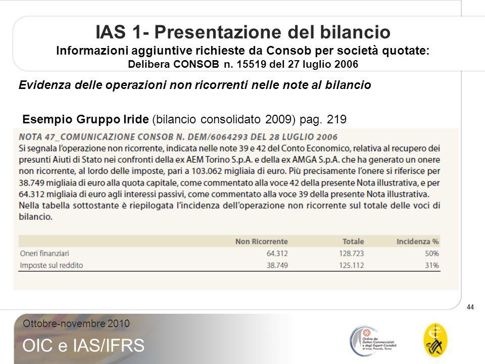 44 Ottobre-novembre 2010 OIC e IAS/IFRS IAS 1- Presentazione del bilancio Informazioni aggiuntive richieste da Consob per società quotate: Delibera CONSOB n.