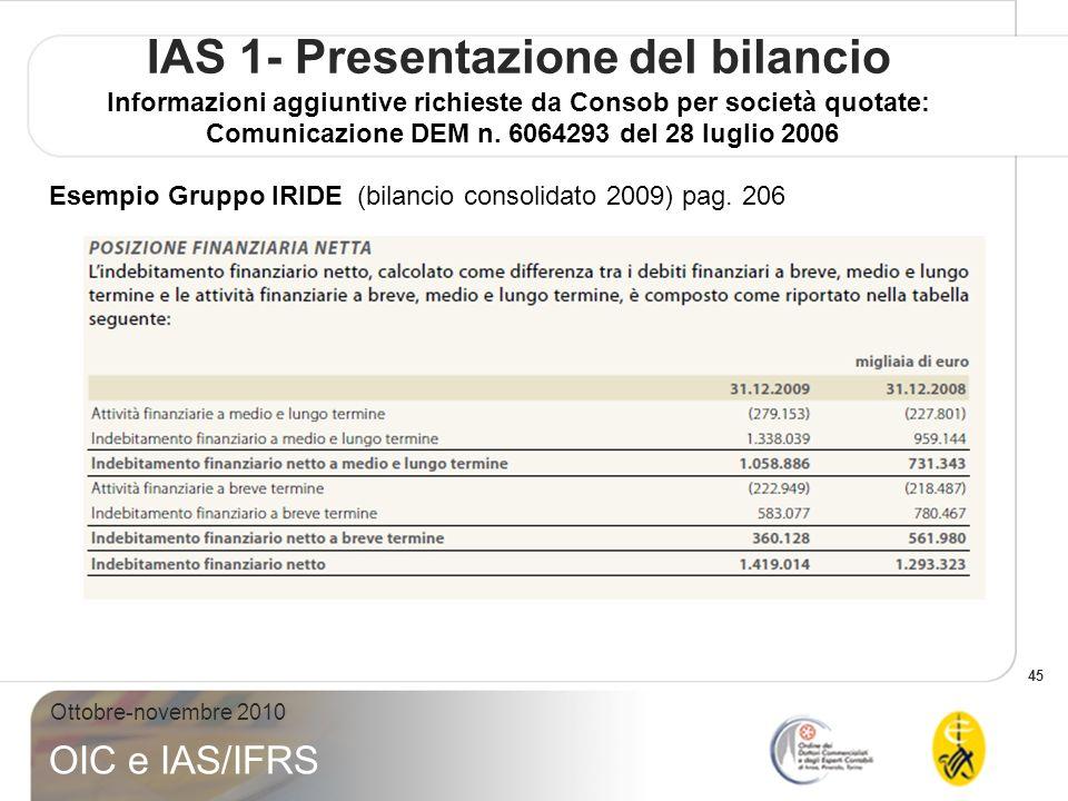 45 Ottobre-novembre 2010 OIC e IAS/IFRS IAS 1- Presentazione del bilancio Informazioni aggiuntive richieste da Consob per società quotate: Comunicazio