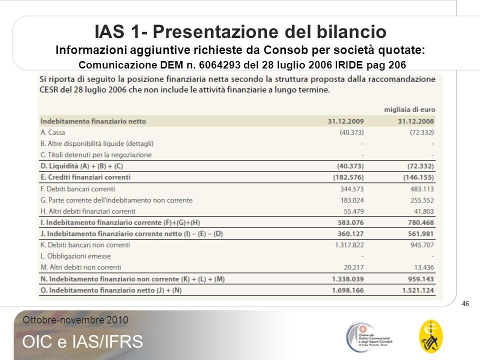 46 Ottobre-novembre 2010 OIC e IAS/IFRS IAS 1- Presentazione del bilancio Informazioni aggiuntive richieste da Consob per società quotate: Comunicazio