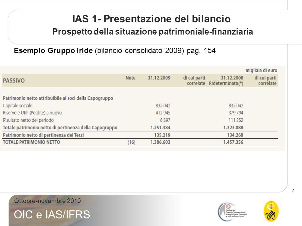 8 Ottobre-novembre 2010 OIC e IAS/IFRS IAS 1- Presentazione del bilancio Prospetto della situazione patrimoniale-finanziaria Esempio Gruppo Iride (bilancio consolidato 2009) pag.