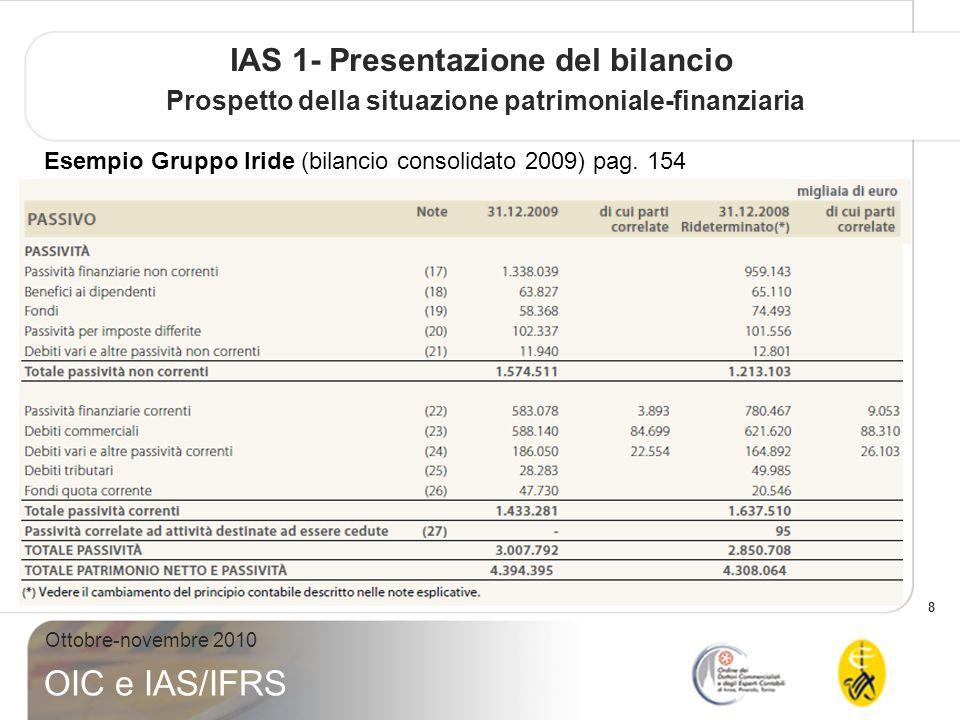 9 Ottobre-novembre 2010 OIC e IAS/IFRS IAS 1- Presentazione del bilancio Prospetto della situazione patrimoniale-finanziaria Esempio: Gruppo FIAT (bilancio consolidato 2009) Pag.