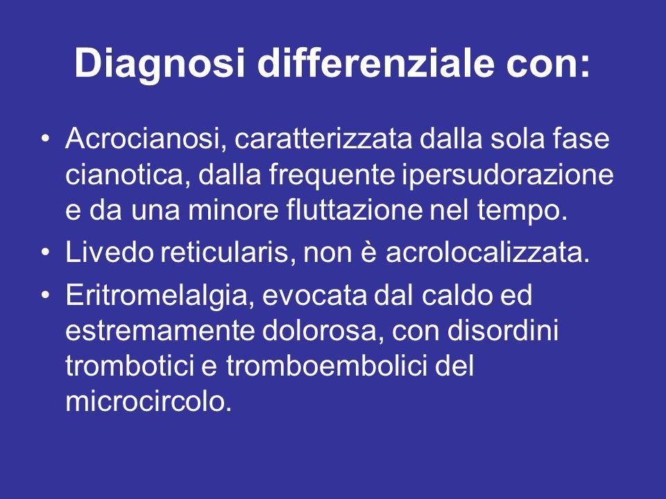 Diagnosi differenziale con: Acrocianosi, caratterizzata dalla sola fase cianotica, dalla frequente ipersudorazione e da una minore fluttazione nel tem