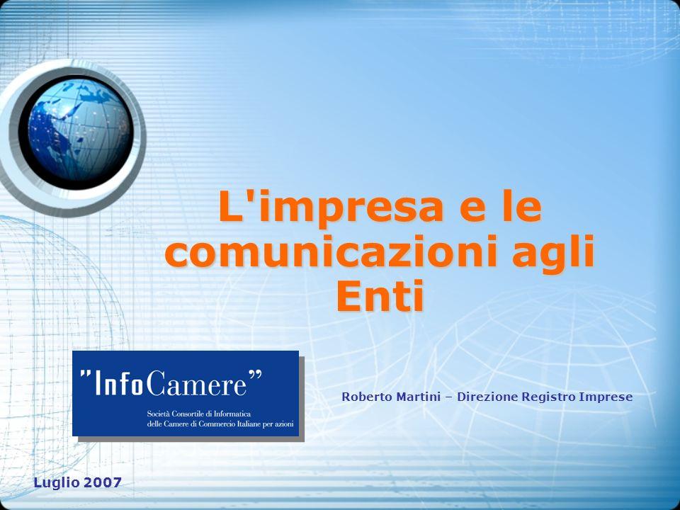 L'impresa e le comunicazioni agli Enti Roberto Martini – Direzione Registro Imprese Luglio 2007