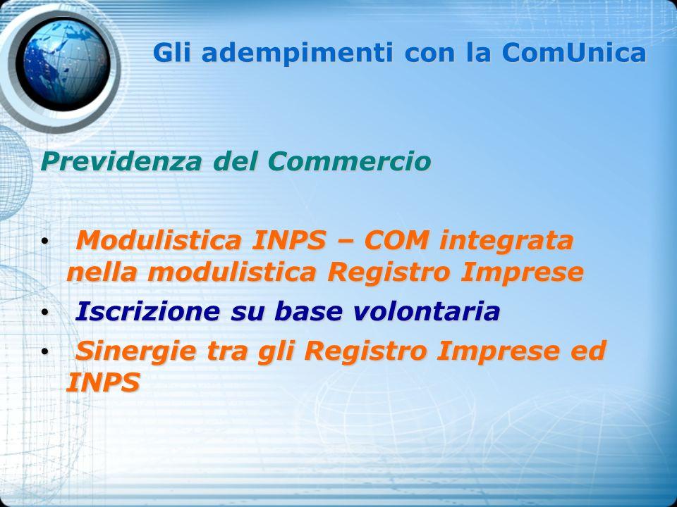 Gli adempimenti con la ComUnica Previdenza del Commercio Modulistica INPS – COM integrata nella modulistica Registro Imprese Modulistica INPS – COM in