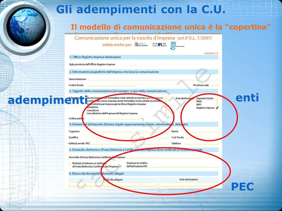 Gli adempimenti con la C.U. Il modello di comunicazione unica è la copertina che raccoglie vari modelli adempimenti enti PEC