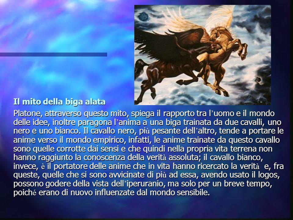 Il mito della biga alata Platone, attraverso questo mito, spiega il rapporto tra l uomo e il mondo delle idee, inoltre paragona l anima a una biga tra