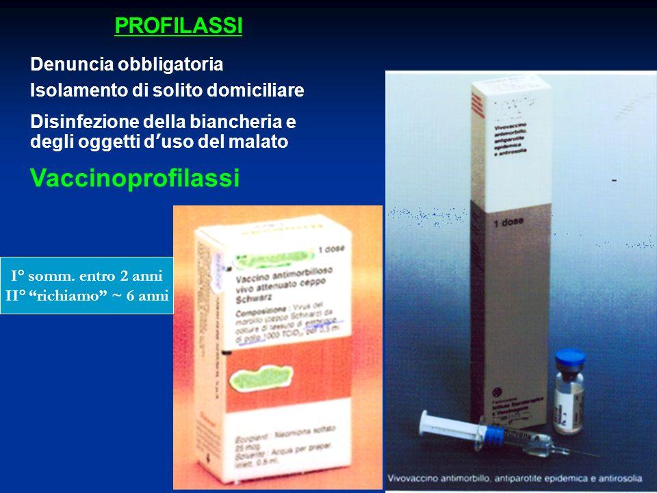 PROFILASSI Vaccinoprofilassi Denuncia obbligatoria Disinfezione della biancheria e degli oggetti duso del malato Isolamento di solito domiciliare I° s