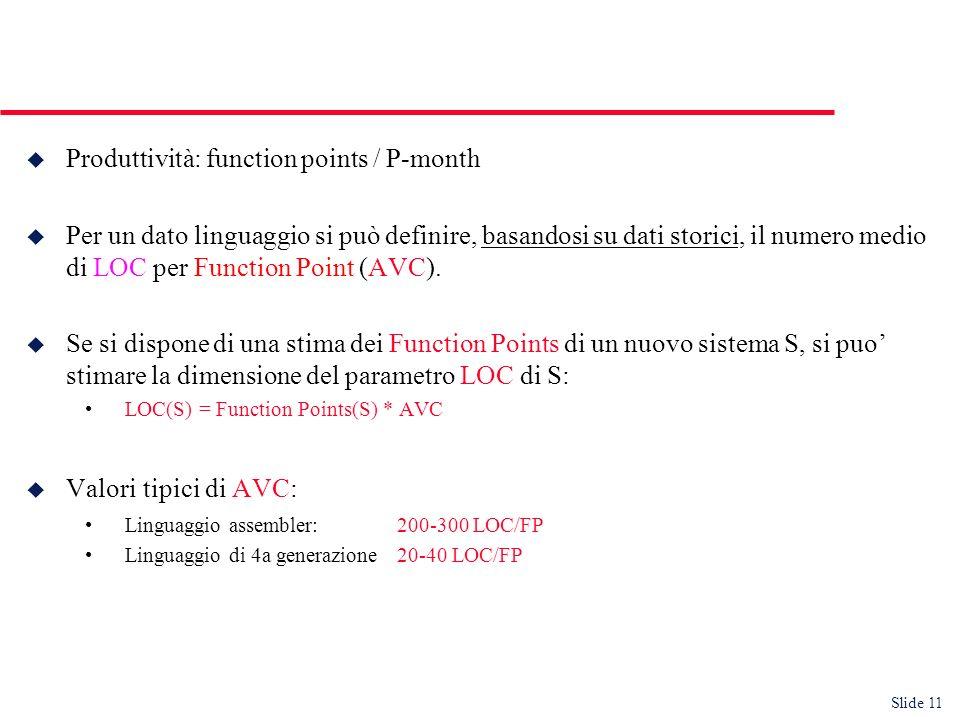 Slide 11 u Produttività: function points / P-month u Per un dato linguaggio si può definire, basandosi su dati storici, il numero medio di LOC per Function Point (AVC).