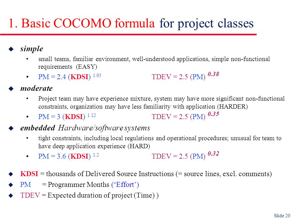 Slide 20 1. Basic COCOMO formula for project classes u simple small teams, familiar environment, well-understood applications, simple non-functional r