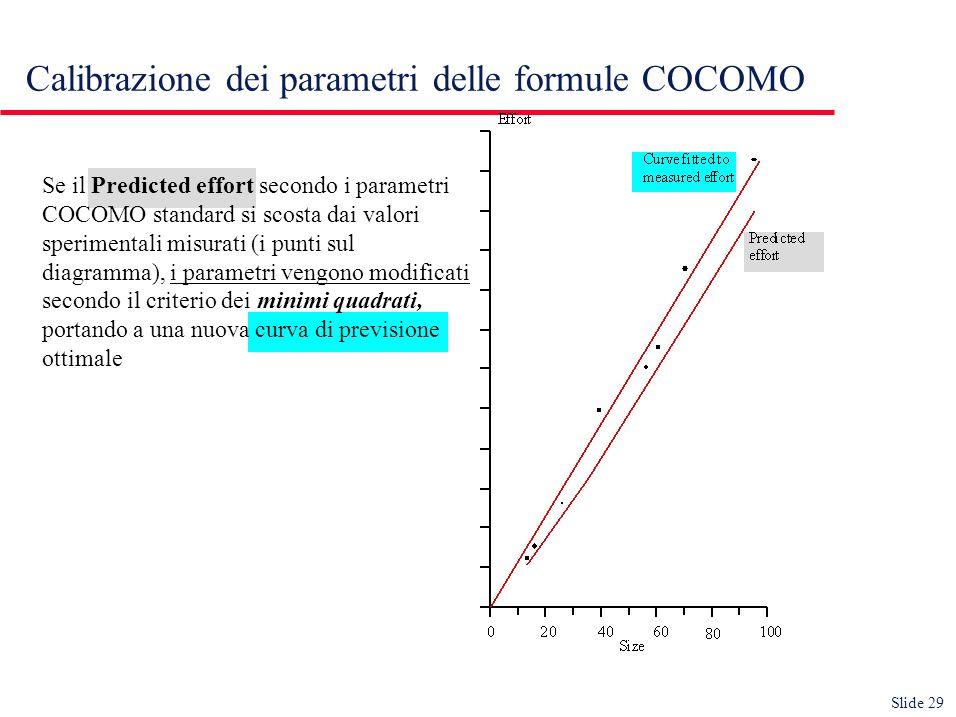 Slide 29 Calibrazione dei parametri delle formule COCOMO Se il Predicted effort secondo i parametri COCOMO standard si scosta dai valori sperimentali misurati (i punti sul diagramma), i parametri vengono modificati secondo il criterio dei minimi quadrati, portando a una nuova curva di previsione ottimale