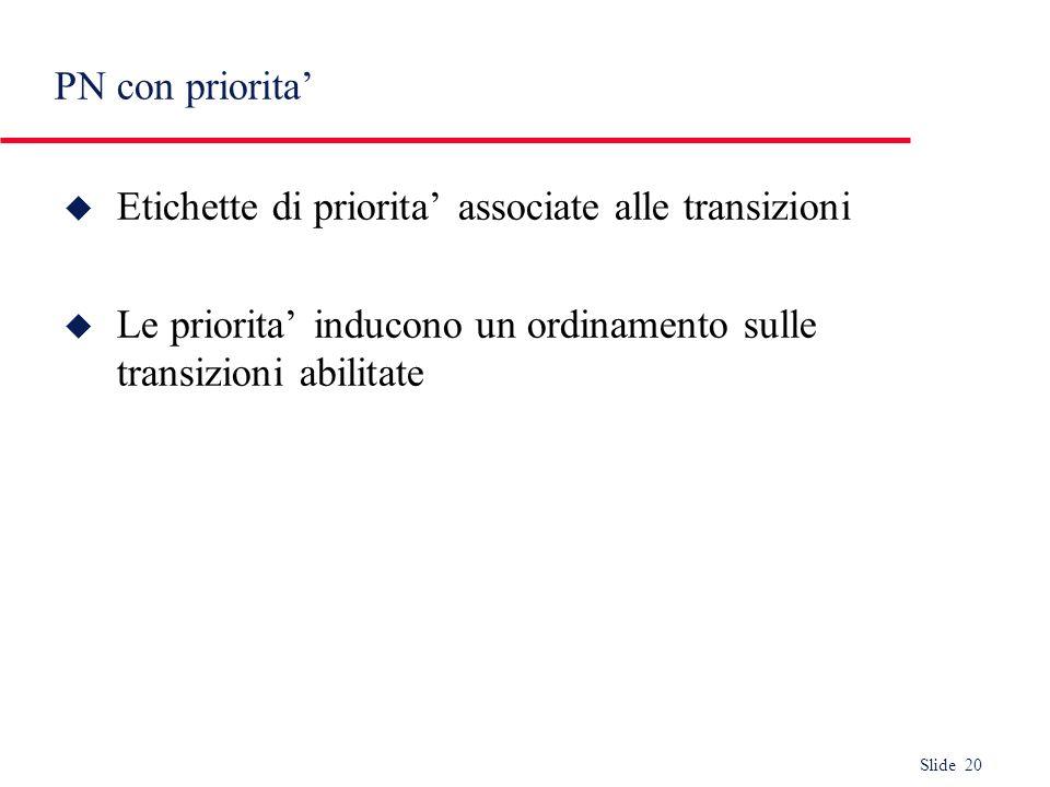 Slide 20 PN con priorita u Etichette di priorita associate alle transizioni u Le priorita inducono un ordinamento sulle transizioni abilitate
