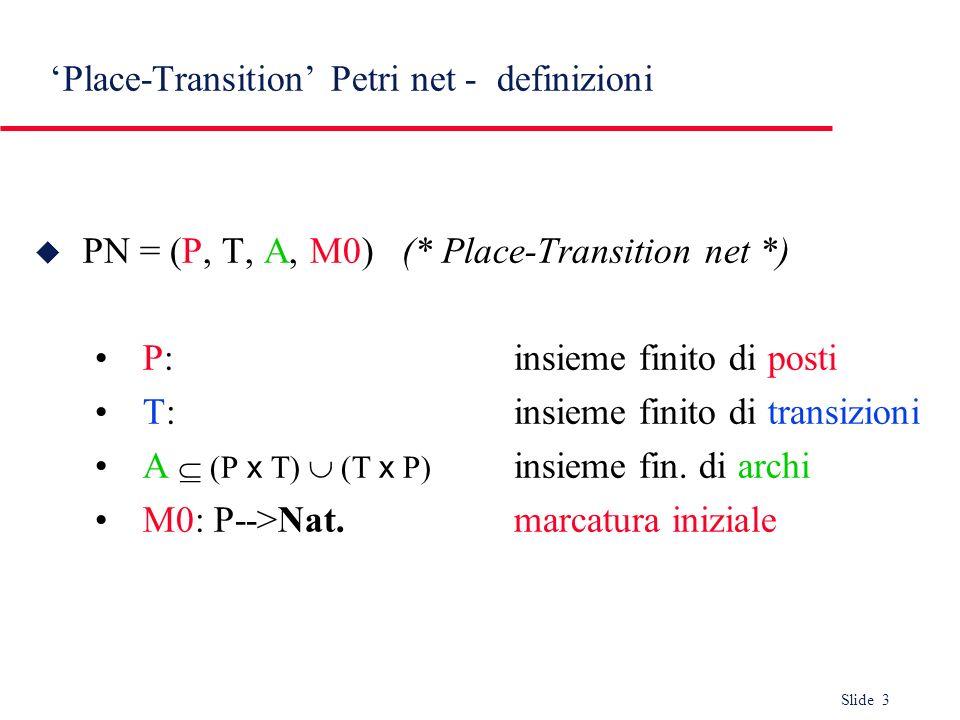 Slide 3 Place-Transition Petri net - definizioni u PN = (P, T, A, M0) (* Place-Transition net *) P:insieme finito di posti T:insieme finito di transiz