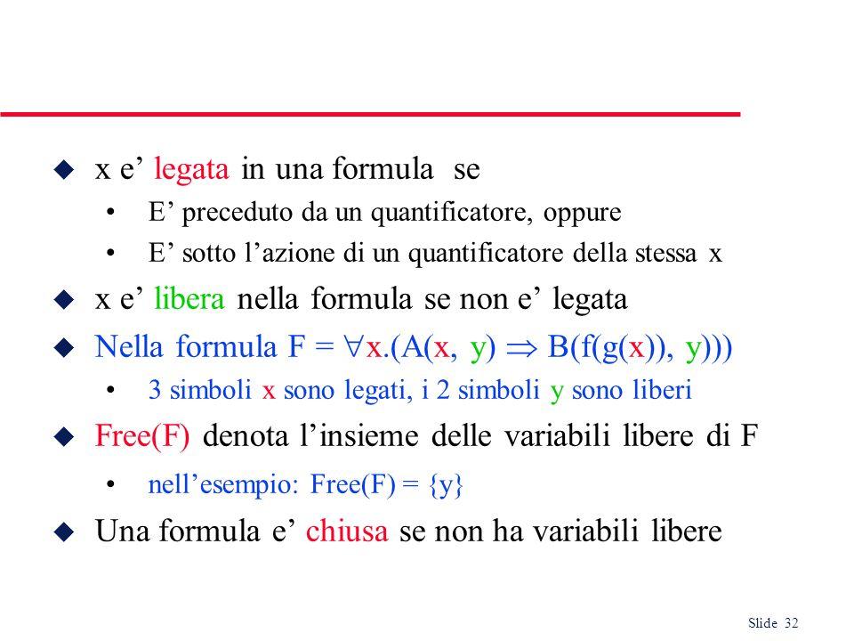 Slide 32 u x e legata in una formula se E preceduto da un quantificatore, oppure E sotto lazione di un quantificatore della stessa x u x e libera nell