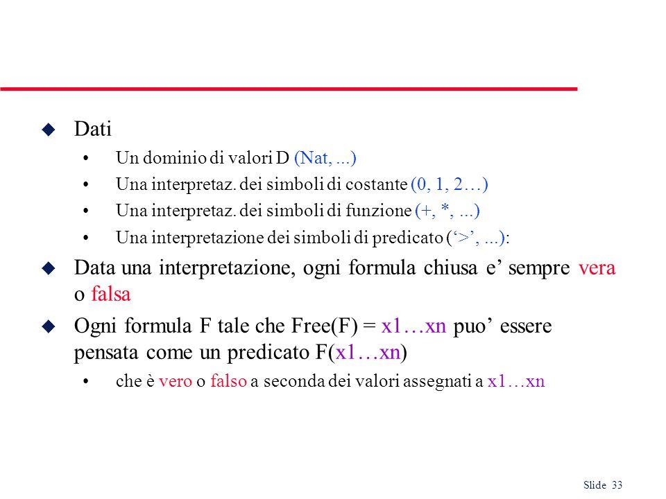 Slide 33 u Dati Un dominio di valori D (Nat,...) Una interpretaz. dei simboli di costante (0, 1, 2…) Una interpretaz. dei simboli di funzione (+, *,..