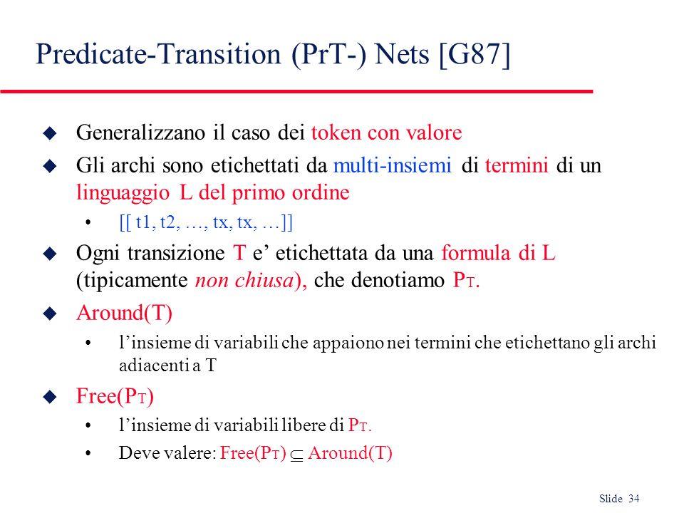 Slide 34 Predicate-Transition (PrT-) Nets [G87] u Generalizzano il caso dei token con valore u Gli archi sono etichettati da multi-insiemi di termini