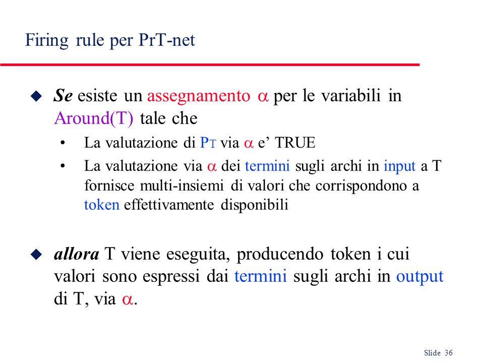 Slide 36 Firing rule per PrT-net Se esiste un assegnamento per le variabili in Around(T) tale che La valutazione di P T via e TRUE La valutazione via