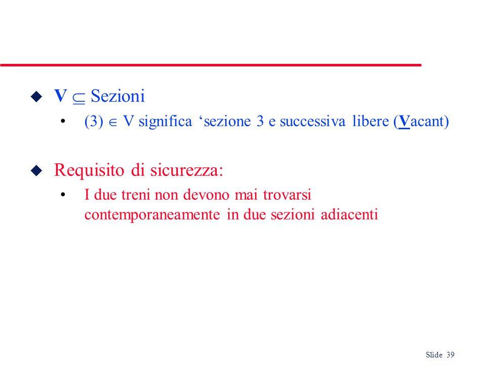 Slide 39 u V Sezioni (3) V significa sezione 3 e successiva libere (Vacant) u Requisito di sicurezza: I due treni non devono mai trovarsi contemporane