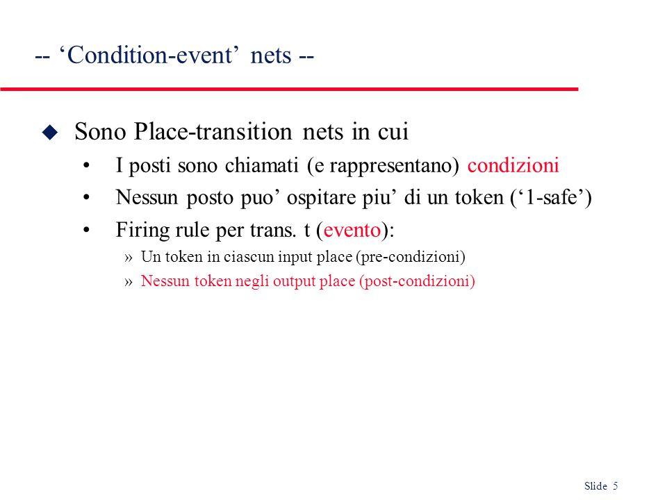 Slide 5 -- Condition-event nets -- u Sono Place-transition nets in cui I posti sono chiamati (e rappresentano) condizioni Nessun posto puo ospitare pi