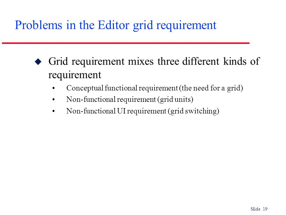 Slide 19 Problems in the Editor grid requirement u Grid requirement mixes three different kinds of requirement Conceptual functional requirement (the