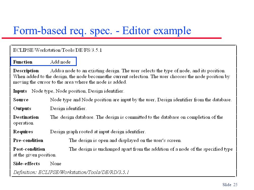 Slide 25 Form-based req. spec. - Editor example