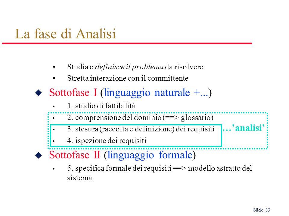 Slide 33 La fase di Analisi Studia e definisce il problema da risolvere Stretta interazione con il committente u Sottofase I (linguaggio naturale +...