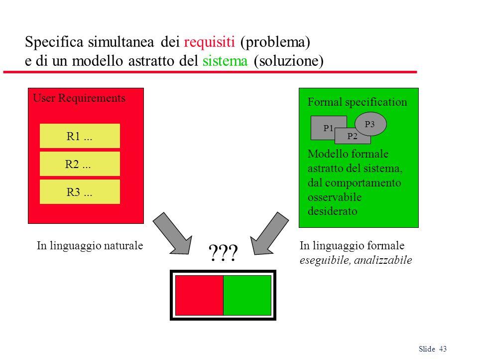 Slide 43 Specifica simultanea dei requisiti (problema) e di un modello astratto del sistema (soluzione) User Requirements In linguaggio naturaleIn lin