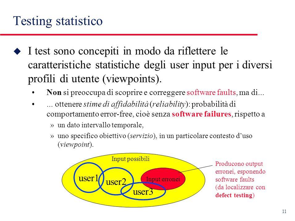 11 u I test sono concepiti in modo da riflettere le caratteristiche statistiche degli user input per i diversi profili di utente (viewpoints).