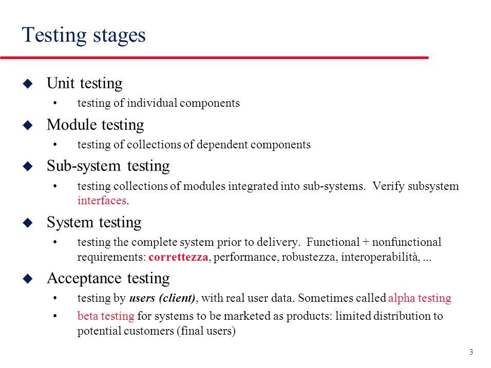 14 Incremental (integration) testing Moduli o subsystems Tests