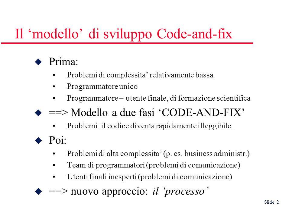 Slide 2 Il modello di sviluppo Code-and-fix Prima: Problemi di complessita relativamente bassa Programmatore unico Programmatore = utente finale, di formazione scientifica ==> Modello a due fasi CODE-AND-FIX Problemi: il codice diventa rapidamente illeggibile.