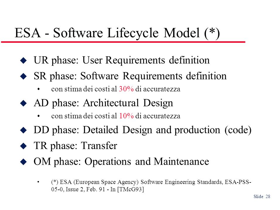 Slide 28 ESA - Software Lifecycle Model (*) UR phase: User Requirements definition SR phase: Software Requirements definition con stima dei costi al 30% di accuratezza AD phase: Architectural Design con stima dei costi al 10% di accuratezza DD phase: Detailed Design and production (code) TR phase: Transfer OM phase: Operations and Maintenance (*) ESA (European Space Agency) Software Engineering Standards, ESA-PSS- 05-0, Issue 2, Feb.