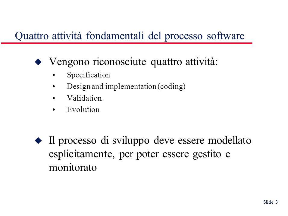 Slide 3 Quattro attività fondamentali del processo software Vengono riconosciute quattro attività: Specification Design and implementation (coding) Va
