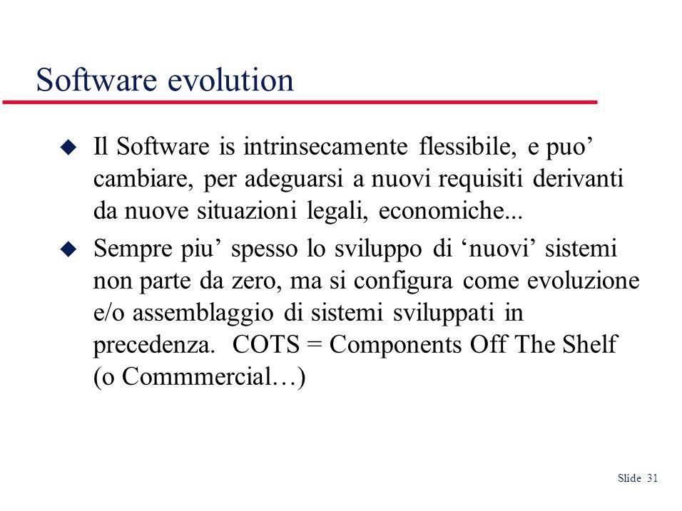 Slide 31 Software evolution Il Software is intrinsecamente flessibile, e puo cambiare, per adeguarsi a nuovi requisiti derivanti da nuove situazioni legali, economiche...