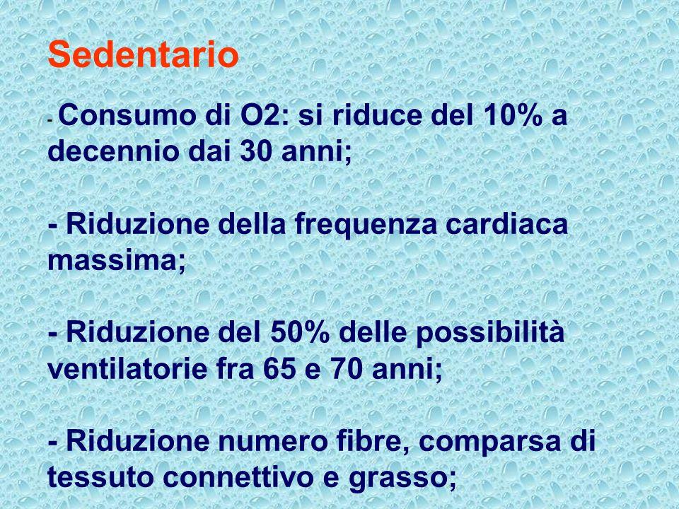 Sedentario - Consumo di O2: si riduce del 10% a decennio dai 30 anni; - Riduzione della frequenza cardiaca massima; - Riduzione del 50% delle possibil