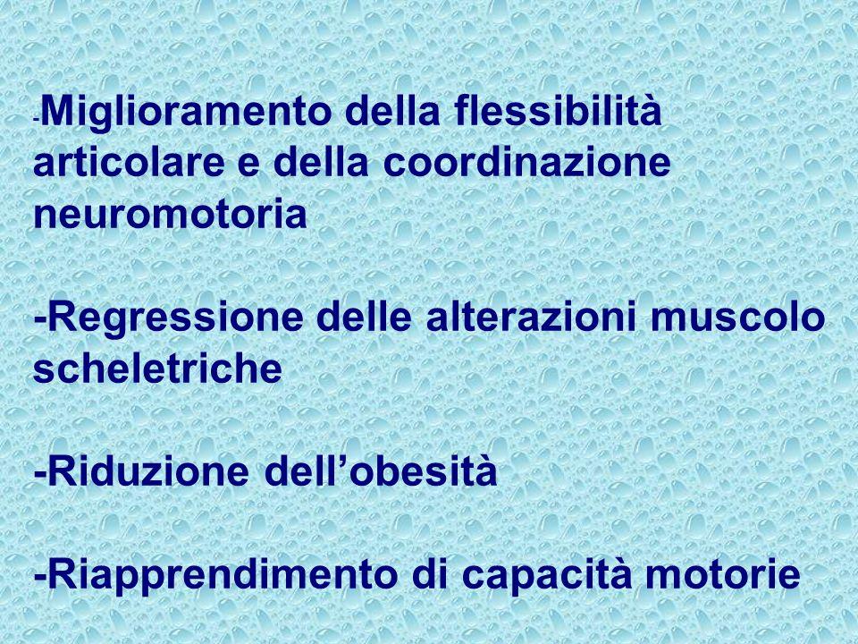 - Miglioramento della flessibilità articolare e della coordinazione neuromotoria -Regressione delle alterazioni muscolo scheletriche -Riduzione dellob