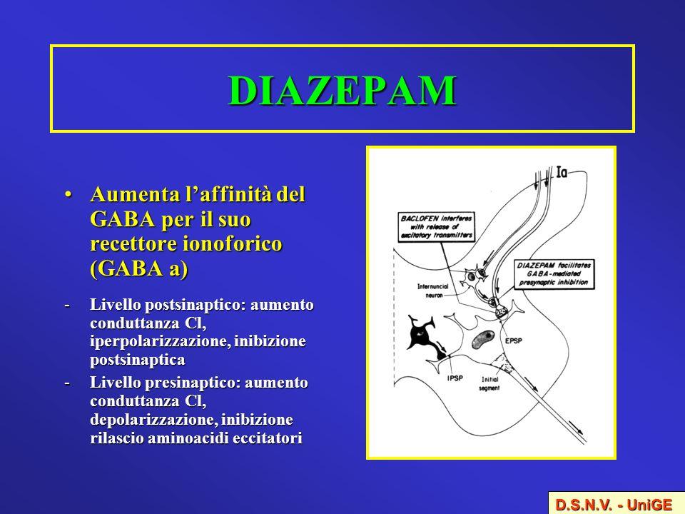 DIAZEPAM Aumenta laffinità del GABA per il suo recettore ionoforico (GABA a)Aumenta laffinità del GABA per il suo recettore ionoforico (GABA a) -Livel