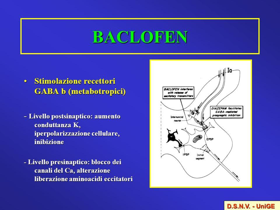 BACLOFEN Stimolazione recettori GABA b (metabotropici)Stimolazione recettori GABA b (metabotropici) - Livello postsinaptico: aumento conduttanza K, ip
