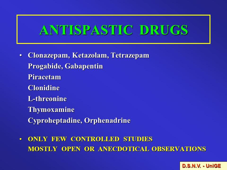 ANTISPASTIC DRUGS Clonazepam, Ketazolam, TetrazepamClonazepam, Ketazolam, Tetrazepam Progabide, Gabapentin PiracetamClonidineL-threonineThymoxamine Cy
