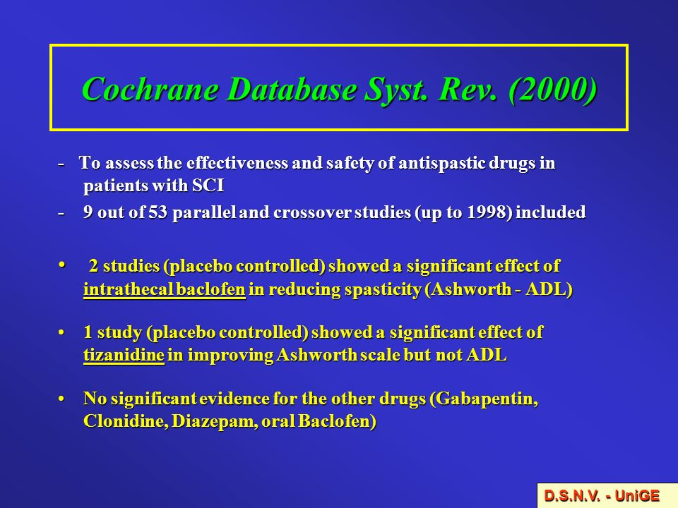 Cochrane Database Syst. Rev. (2000) - To assess the effectiveness and safety of antispastic drugs in patients with SCI -9 out of 53 parallel and cross