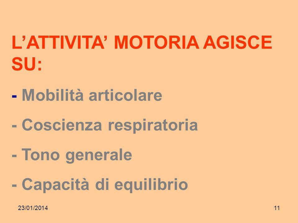 23/01/201411 LATTIVITA MOTORIA AGISCE SU: - Mobilità articolare - Coscienza respiratoria - Tono generale - Capacità di equilibrio