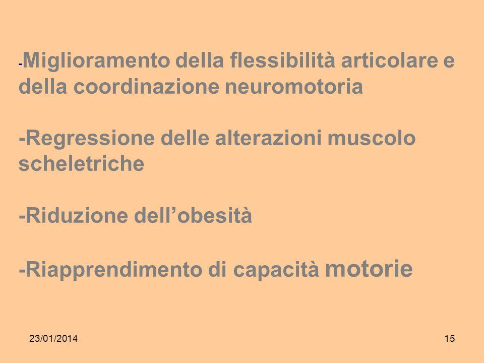 23/01/201415 - Miglioramento della flessibilità articolare e della coordinazione neuromotoria -Regressione delle alterazioni muscolo scheletriche -Riduzione dellobesità -Riapprendimento di capacità motorie