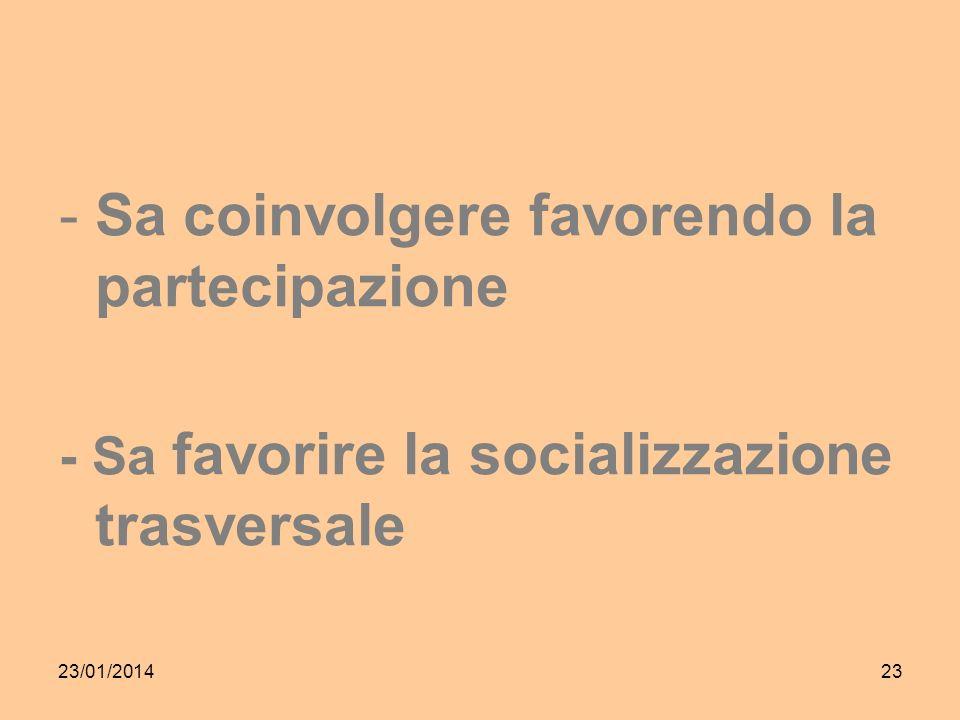 23/01/201423 -Sa coinvolgere favorendo la partecipazione - Sa favorire la socializzazione trasversale