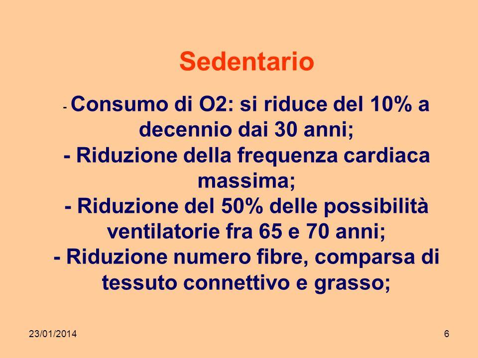 23/01/20146 Sedentario - Consumo di O2: si riduce del 10% a decennio dai 30 anni; - Riduzione della frequenza cardiaca massima; - Riduzione del 50% delle possibilità ventilatorie fra 65 e 70 anni; - Riduzione numero fibre, comparsa di tessuto connettivo e grasso;
