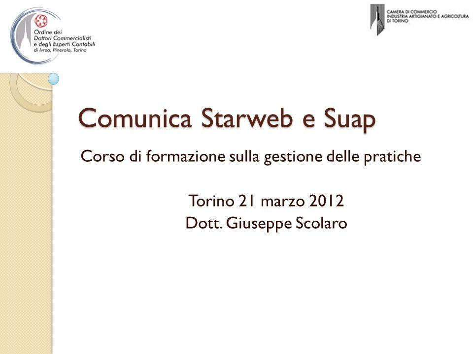 Comunica Starweb e Suap Corso di formazione sulla gestione delle pratiche Torino 21 marzo 2012 Dott. Giuseppe Scolaro