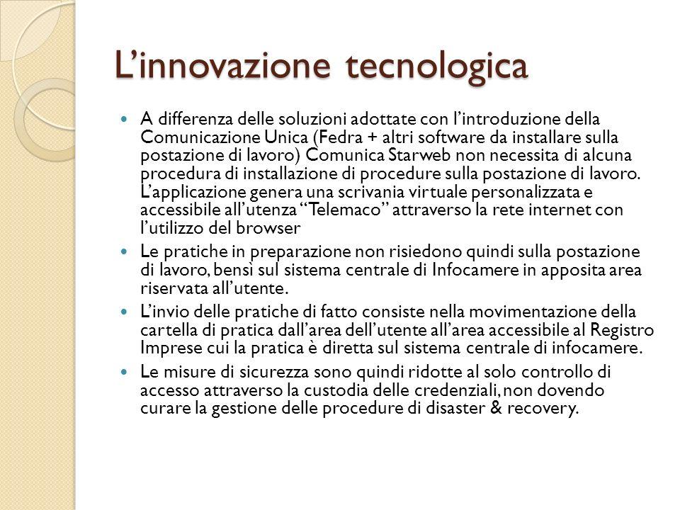 Linnovazione tecnologica A differenza delle soluzioni adottate con lintroduzione della Comunicazione Unica (Fedra + altri software da installare sulla