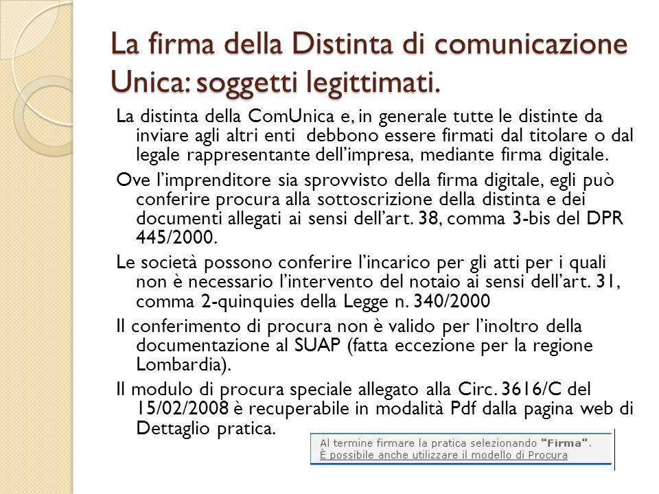 La firma della Distinta di comunicazione Unica: soggetti legittimati. La distinta della ComUnica e, in generale tutte le distinte da inviare agli altr