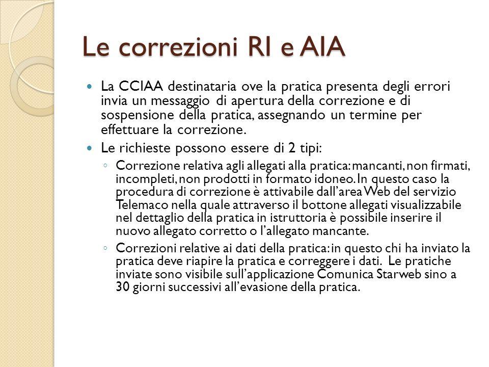 Le correzioni RI e AIA La CCIAA destinataria ove la pratica presenta degli errori invia un messaggio di apertura della correzione e di sospensione del