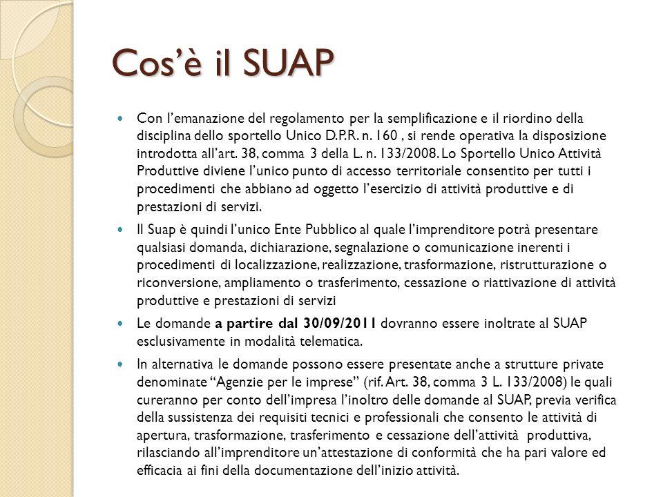 Cosè il SUAP Con lemanazione del regolamento per la semplificazione e il riordino della disciplina dello sportello Unico D.P.R. n. 160, si rende opera