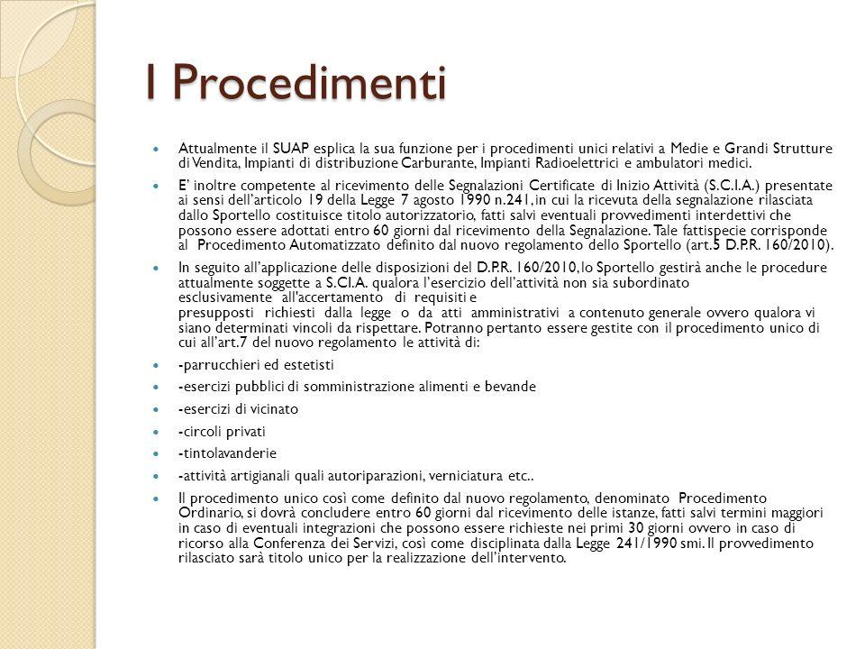 I Procedimenti Attualmente il SUAP esplica la sua funzione per i procedimenti unici relativi a Medie e Grandi Strutture di Vendita, Impianti di distri