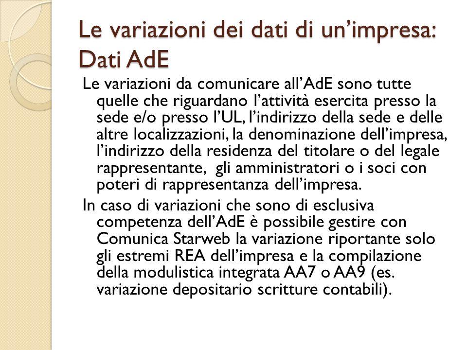 Le variazioni dei dati di unimpresa: Dati AdE Le variazioni da comunicare allAdE sono tutte quelle che riguardano lattività esercita presso la sede e/